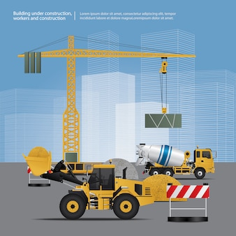 Veículos da construção na ilustração do vetor do local