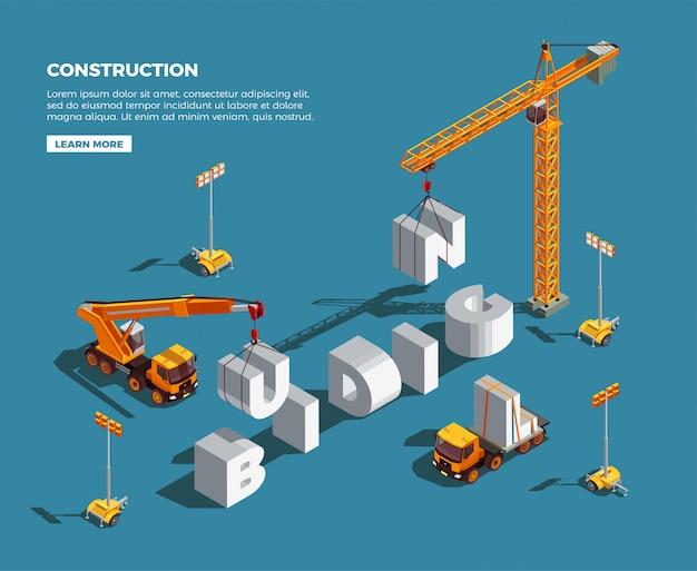 Veículos de construção, criando a palavra de letras brancas