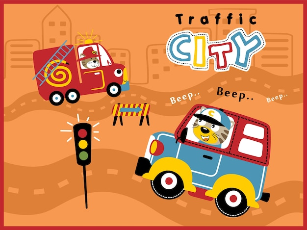 Veículos de desenhos animados no tráfego da cidade com motorista engraçado