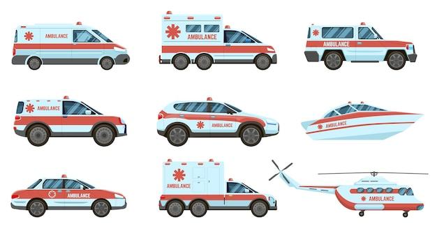 Veículos de emergência de ambulância. carros de ambulância oficiais da cidade, helicóptero e barco.