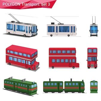 Veículos de estilo poligonal conjunto de ilustrações.
