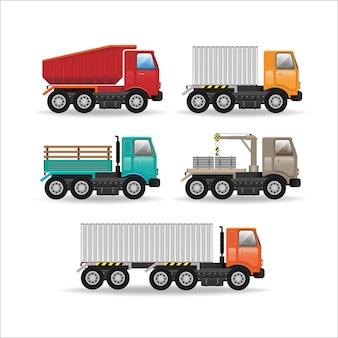 Veículos de frota de logística de design plano criativo moderno conjunto com caminhões de carga