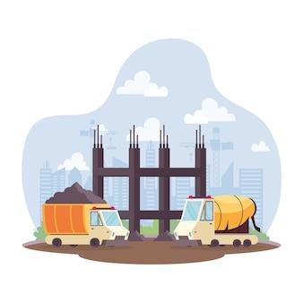 Veículos de lixão de construção e betoneira em design de ilustração vetorial de cena de local de trabalho
