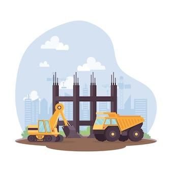 Veículos de lixeira e escavadeira de construção em design de ilustração vetorial de cena de local de trabalho