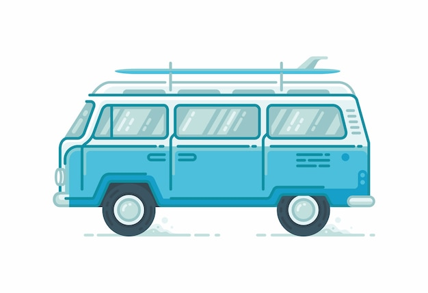 Veículos de minibus de acampamento com pranchas de surf