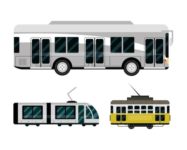Veículos de ônibus, metrô e bonde