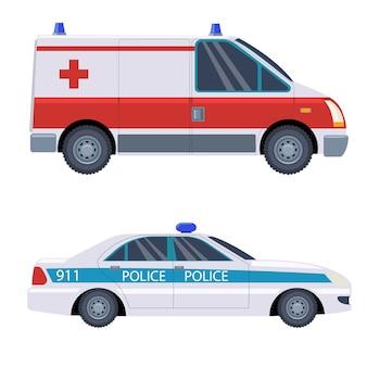 Veículos de resgate, ambulância e carro da polícia