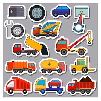 Veículos de transporte adesivos colelction