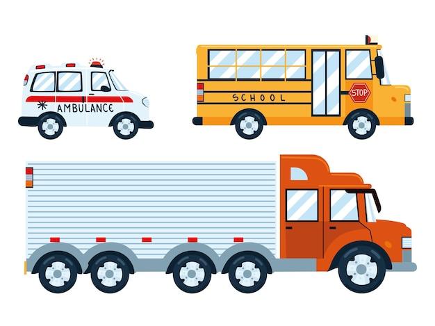 Veículos de transporte de caminhão e ônibus ambulância