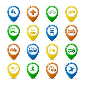 Veículos de transporte, pinos de navegação, conjunto de caminhão de carro, ônibus, pedestre, ilustração vetorial isolada