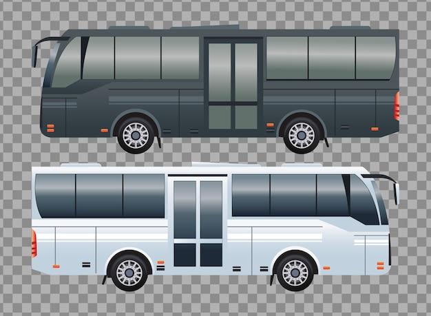 Veículos de transporte público de ônibus branco e preto