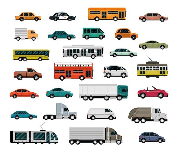 Veículos diferentes, transporte urbano, serviço automóvel, ilustração de carros com vista lateral