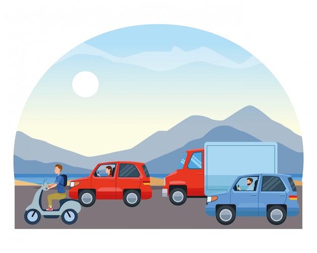 Veículos e motos com motoristas andando