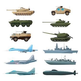 Veículos navais, aviões e diferentes navios de guerra. ilustrações de artilharia, tanques de batalha e subma
