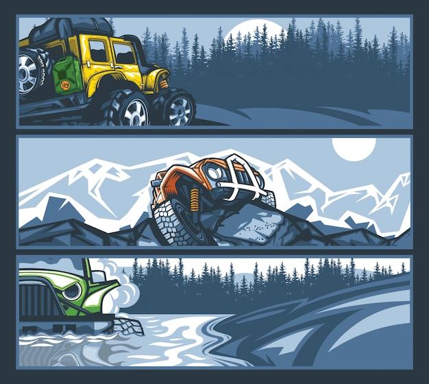 Veículos off-road em situações difíceis, coleção de banner.