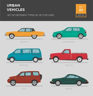 Veículos urbanos. conjunto de diferentes tipos de carros vetoriais sedan Vetor Premium