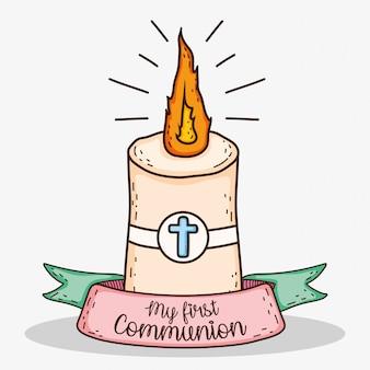 Vela com cruz e fita para tradição primeira comunhão