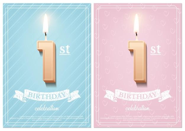 Vela de aniversário número 1 acesa com fita vintage e texto de celebração em cenários azuis e rosa