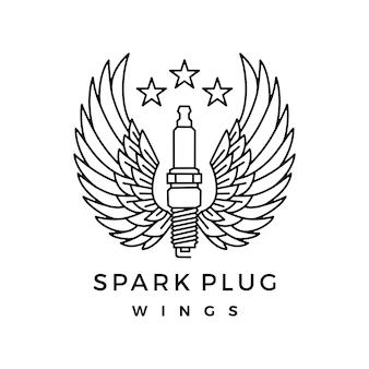 Vela de ignição com logotipo de asas