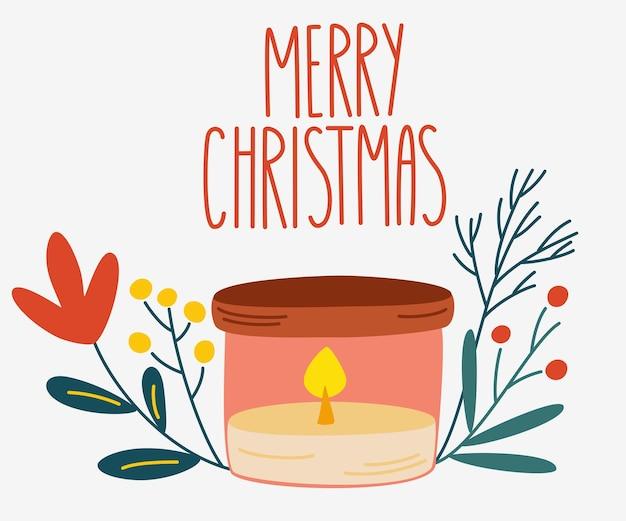 Vela de natal com uma coroa de ramos de pinheiro. decoração para casa para feriados de ano novo e inverno. feliz natal mão desenhar inscrição. ilustração de desenho vetorial.