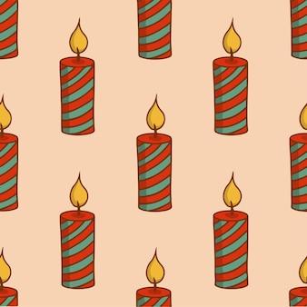 Vela de natal padrão de fundo social media post decoração de natal ilustração em vetor
