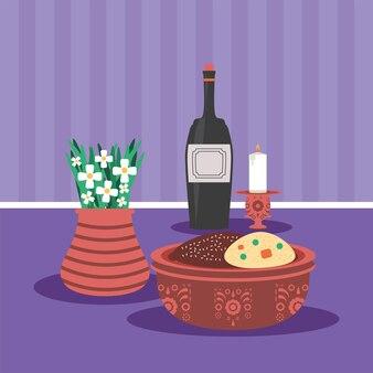 Vela de vinho e biscoitos