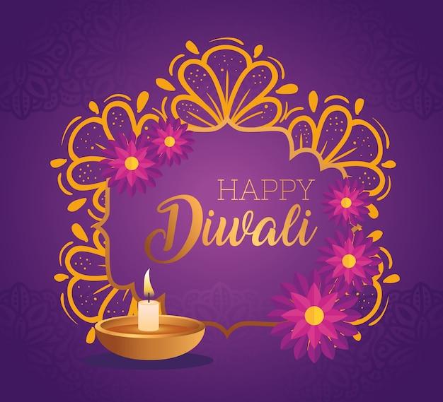 Vela feliz diwali diya com design de flores, tema do festival de luzes