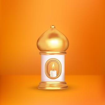 Vela islâmica latern 3d em fundo branco laranja