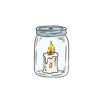 Vela no doodle do frasco.