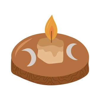 Vela queimando no castiçal de madeira. elemento de design esotérico e místico. ilustração em vetor mão desenhada.