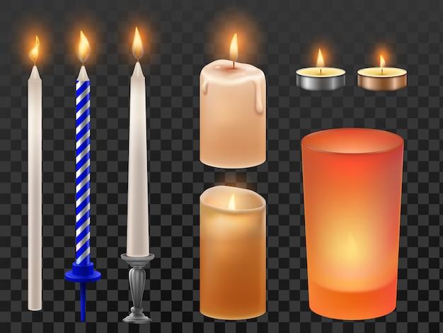 Vela realista. férias de natal ou velas de aniversário, cera flamejante e flama de fogo romântica. conjunto de velas
