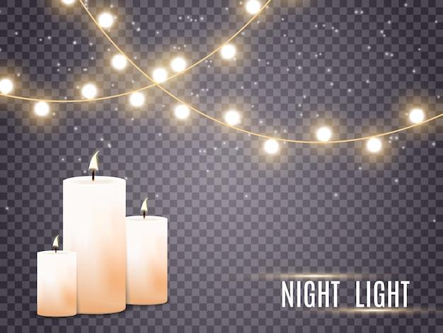 Velas acesas. chama. feriado. luzes de natal isoladas em fundo transparente. ilustração