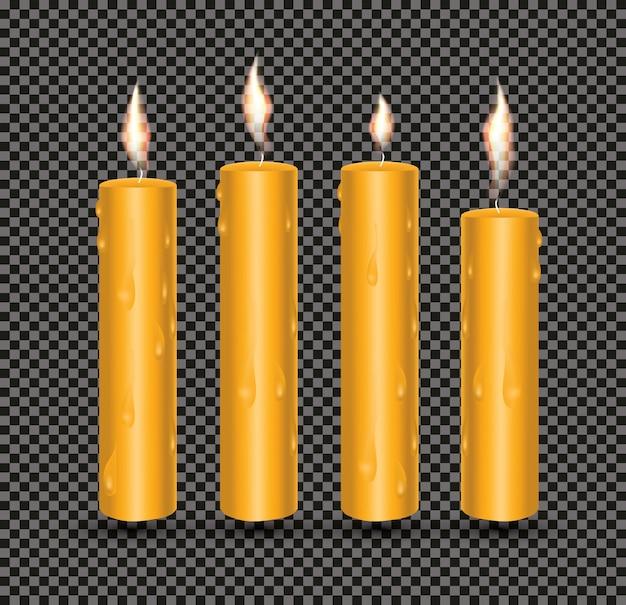 Velas brilhantes laranja realistas com cera derretida. ilustração vetorial