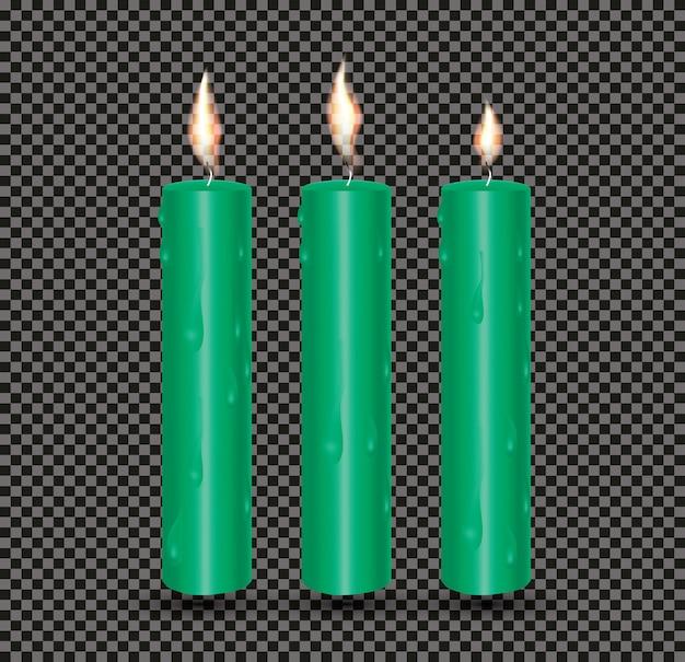 Velas brilhantes verdes realistas com cera derretida. ilustração vetorial