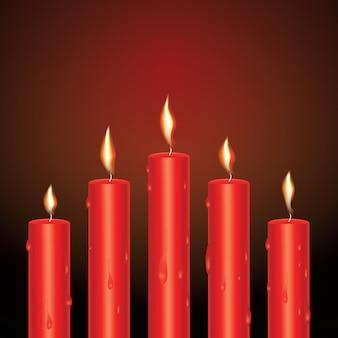 Velas brilhantes vermelhas realistas com cera derretida. ilustração vetorial.