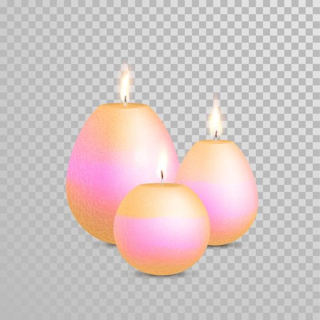 Velas com chamas ardentes em fundo transparente