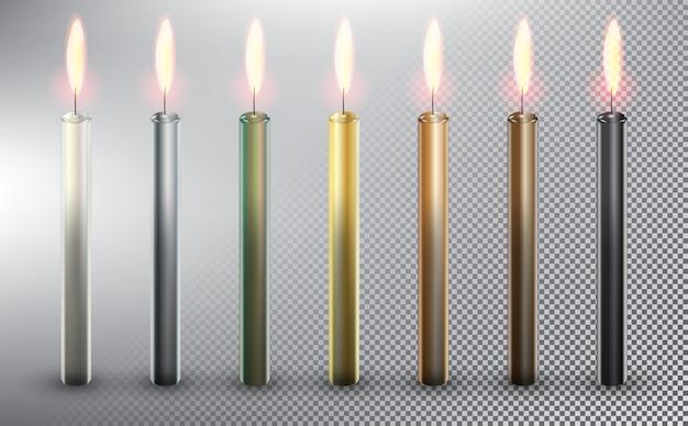 Velas de bolo de aniversário. velas de cera coloridas. isolado no fundo branco.