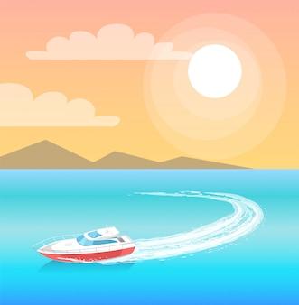 Velas de veículo de transporte da guarda costeira em ilustração de água