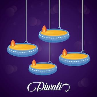 Velas penduradas ícones festival de diwali
