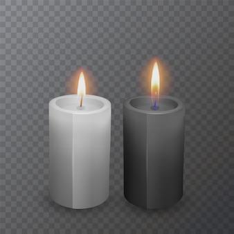 Velas pretas e brancas realistas, velas acesas