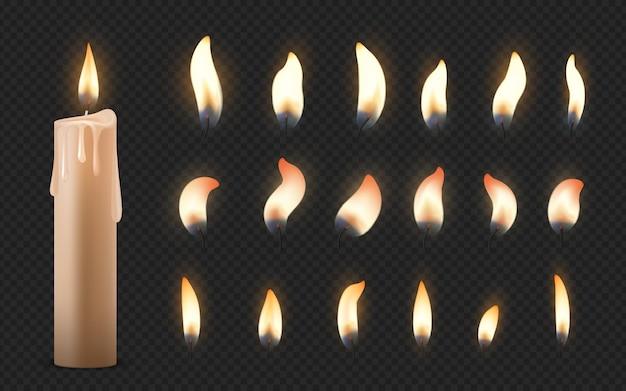 Velas realistas. 3d queima velas de cera de celebração com diferentes pequenas chamas brilhantes.