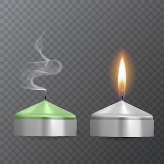 Velas realistas de cores verdes e brancas, velas acesas e apagadas