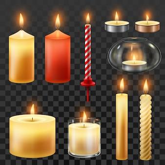 Velas românticas de cera para conjunto isolado de festa de natal