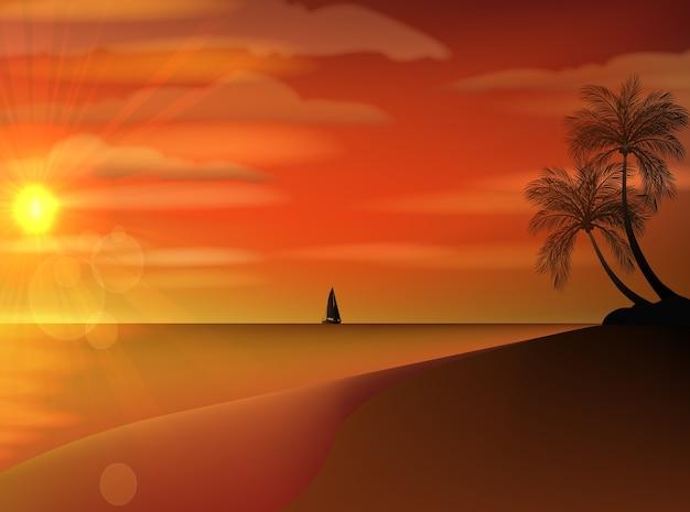Veleiro antigo clássico em um pôr do sol