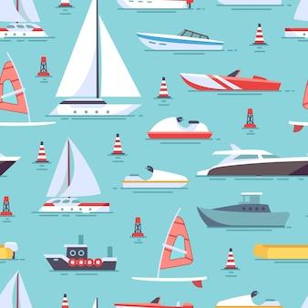 Veleiros e padrão sem emenda de barcos coloridos