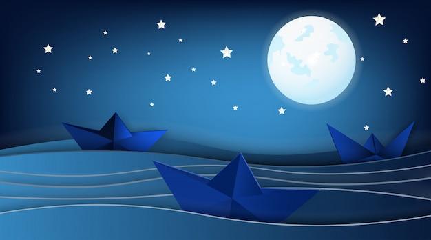 Veleiros na paisagem do oceano com lua e estrelas.