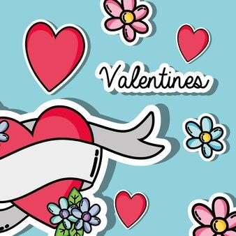 Velentines day parches design símbolo da ilustração do vetor do amor