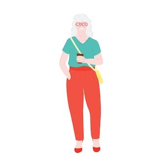 Velha avó sênior e aposentada idosa cabelos grisalhos ativo linda vovó