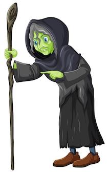 Velha bruxa segurando o pessoal