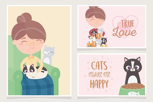 Velha descansando na cadeira e abraça gatos ilustração de cartões de mascote